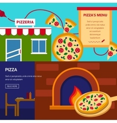 Pizzeria horizontal banners set vector