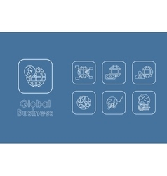 Set of global business simple icons vector