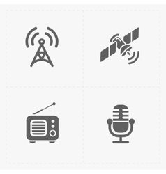 Modern flat social icons set on white vector