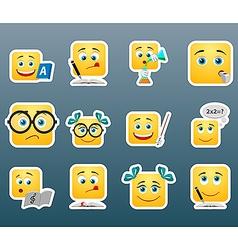 School smile stickers set vector