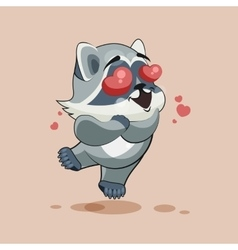 Raccoon cub in love vector