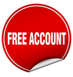 Free account round red sticker isolated on white vector