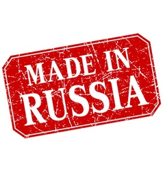 Made in russia red square grunge stamp vector