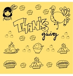Thanksgiving element doodle vector