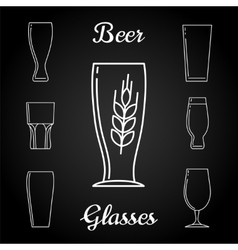 Line beer glasses icons on blackboard vector