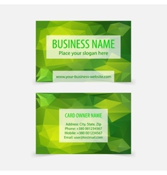 Abstract green polygonal business cards vector image vector image