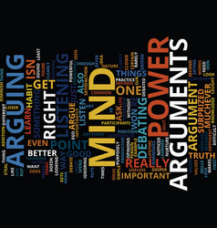 Arguments steal mind power text background word vector