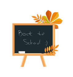 blackboard chalk and fallen leaves set of school vector image vector image