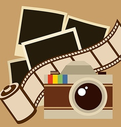 Camera and filmstrip design vector