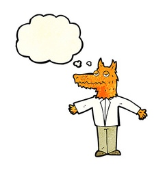 Cartoon wolf with thought bubble vector