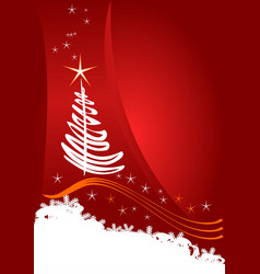 christmas template red background with stars vector image