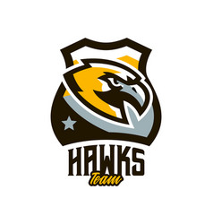 colorful logo sticker emblem of a hawk flying vector image