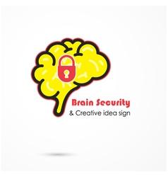 Creative brain security abstract logo vector image vector image