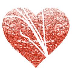 Damaged love heart grunge texture icon vector