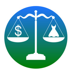 Dress and dollar symbol on scales white vector