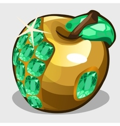 Golden apple with emerald stones symbol vector