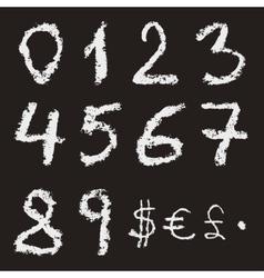 Hand written chalk numbers vector