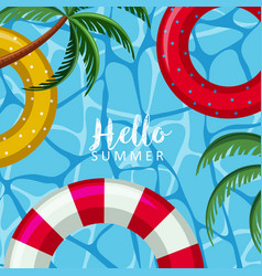 Hello summer poster with floats on water vector