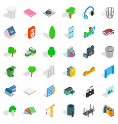 House in city icons set isometric style vector