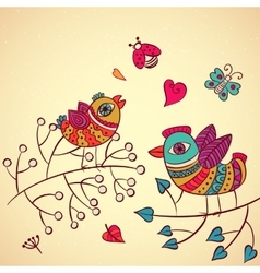 Love birds on the branch vector image vector image