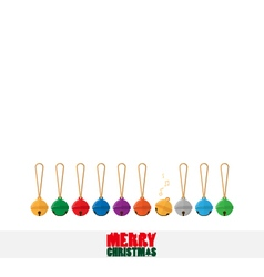 Merry christmas text and colorful small bell flat vector