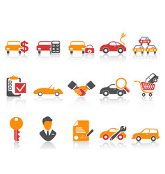 orange red color series car dealer icons set vector image vector image