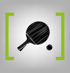 Ping pong paddle with ball black scribble vector