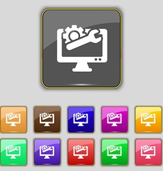 Repair computer icon sign set with eleven colored vector