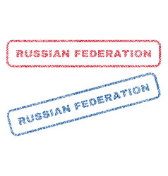 Russian federation textile stamps vector