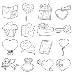 Saint valentine icons set cartoon outline style vector