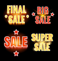 Sale lettering shining banners vector