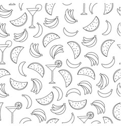seamless pattern with fruits on white background vector image vector image
