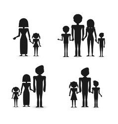 Silhouette group people family vector