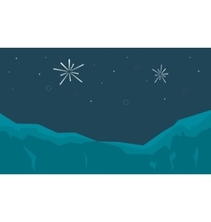 Silhouette of firework landscape at night vector
