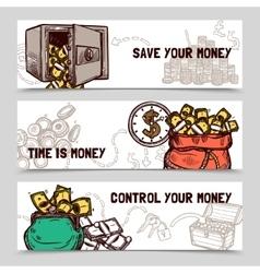 Time management financial banners set doodle vector image vector image