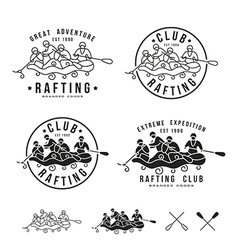 Rafting club emblem and design elements vector