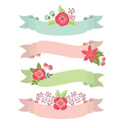 Floral ribbons set vector