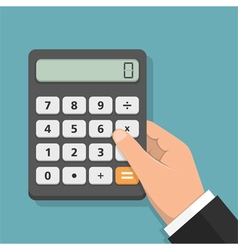 Hand with calculator vector