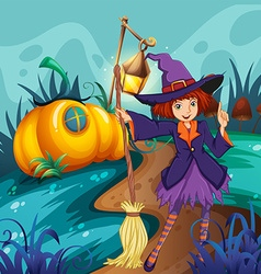 Cute witch and mushroom house vector
