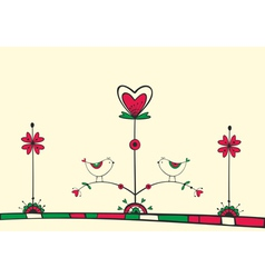 Card with birds on love tree vector