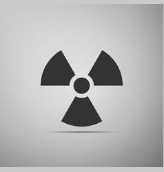 Radiation symbol flat icon on grey background vector