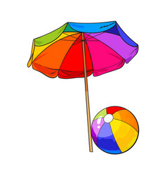 Rainbow colored open beach umbrella and inflated vector