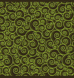 Abstract green swirls on black background vector