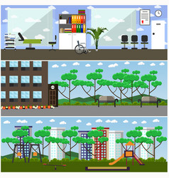 Set of maternity hospital and kindergarten vector