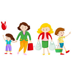 mother and kid go shopping vector image