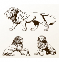 Heraldic animals lions old isolated vector
