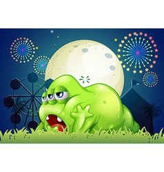A sleepy green monster at the amusement park vector