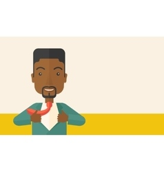 Happy working african man to change his clothes vector