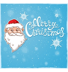 Blue christmas background with santa claus vector