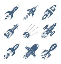 Rockets Black Icon Set vector image